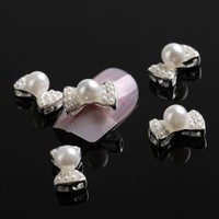 350buy 10 pcs White 3D Alloy Pearl Bow Tie Nail Art Glitters Stickers DIY Decorations