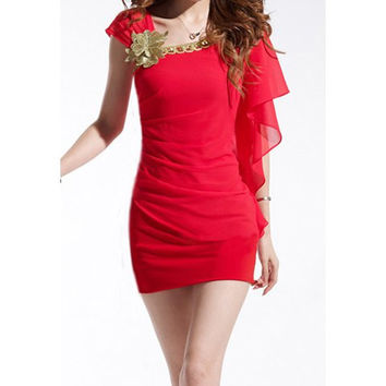 Red Ruffled Chiffon Mini Dress