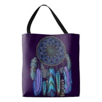 Dream catcher with a magic bird turquoise feathers tote bag