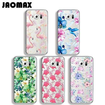 Jaomax Cute Bird Flower Flamingo Phone Case For Samsung Galaxy S7 S6 S5 S4 S3 Edge S8 Plus Silicone Transparent Back Cover Coque