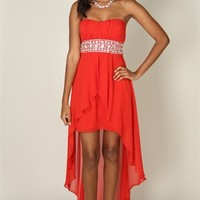 Chiffon Strapless Dress with Rhinestone Waist and Empire Flyaway Front