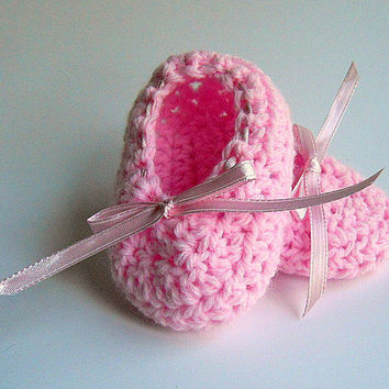 Pink  Baby  Ballet  Slippers  Newborn Pastel  Booties  Infant Girl Shoes Light Pale  Crochet  0 - 3 Months  Photo Prop Children Clothing