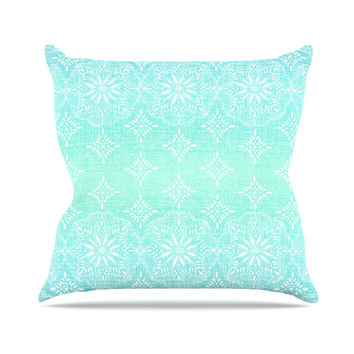 "Suzie Tremel ""Medallion Aqua Ombre"" Blue Teal Throw Pillow"