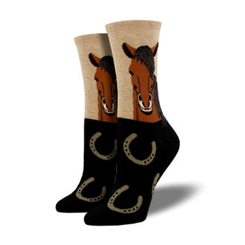 Novelty Socks HORSE PORTRAIT HEMP Fabric Cotton Crew Shoe Mane Wnc760-Hem