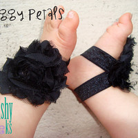Black Piggy Petals - ADORABLE Baby Barefoot Sandals Toe Blooms - Photo Props - Baby Shoes - Newborn Shoes - Toddler Sandals