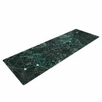 "Marianna Tankelevich ""Aventurine Space"" Green Gray Digital Yoga Mat"