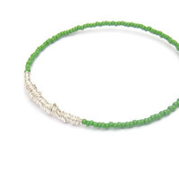 Beaded Bangle Bracelet // Eco-Friendly Jewelry // Bright Green Seed Bead Bracelet Silver Wire Wrap // Handmade Bracelet // Recycled Jewelry