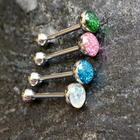 """Glitter TONGUE Ring 14G 5/8"""" Epoxy Barbell Piercing"""