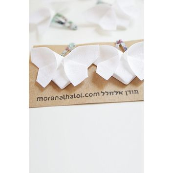 White Origami Butterfly Hair Clips