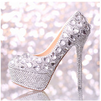 2017 Spring New Women Fashion White Crystal Wedding Shoes Super High Heel Pumps Bridal Platform Dress Shoes