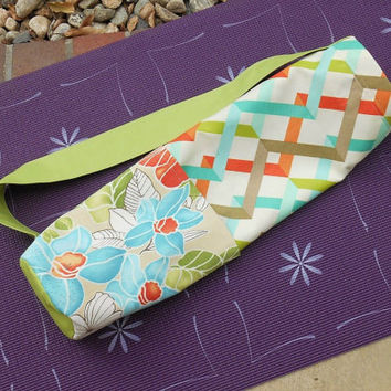 Yoga Mat Carrier, Yoga Mat Tote, Yoga Gym Bag, Turquoise Green and Orange, Gift for Yoga Lover