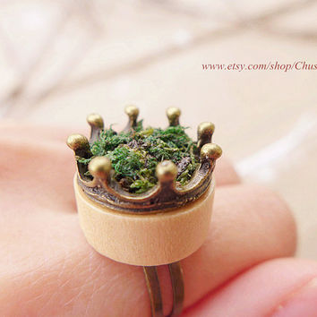 wood rings for women, wooden rings jewelry, moss ring, moss terrarium jewelry, green grass ring, crown ring, nature ring, boho rings