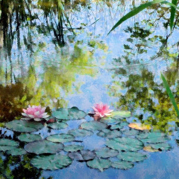 Photograph IMPRESSIONIST WATER LILIES Coastal by LovesParisStudio