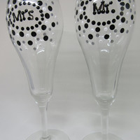 Hand Painted MR. and MRS. Champagne Stemware Glasses - SET of 2 - Black, White, and Metallic Silver