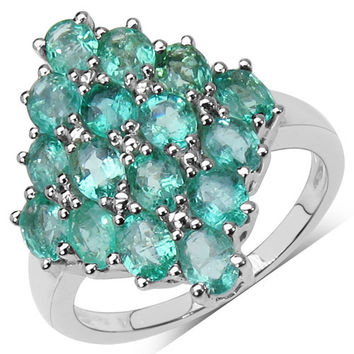 2.88 Carat Genuine Emerald .925 Sterling Silver Ring