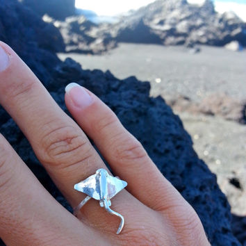 Sting Ray Ring, Manta Ray Ring, Sterling Silver