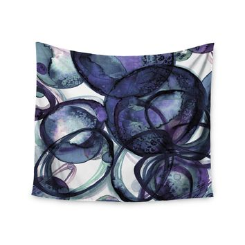 "Ebi Emporium ""Worlds Collide 5"" Purple Blue Watercolor Wall Tapestry"