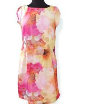 LIZ Claiborne Womens Soft Pastels Fuchsia Yellow Pink Dress Size 10