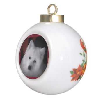 Samoyed Christmas Tree Ornament; bell design Ceramic Ball Christmas Ornament