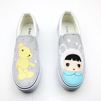 Gba New 2017 Spring Best Doodle Pattern Casual Pedal Shoes Women Hand Painted Canvas S