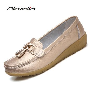 Plardin New Leather middle-aged Mother Shoes women's Single Shoes Peas Shoes Leather Soft Bottom Wedge
