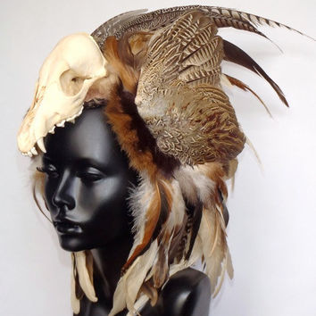 MADE TO ORDER Animal Skull Feather Headdress