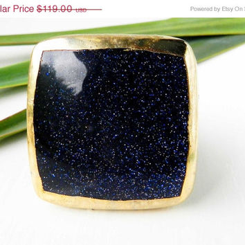Blue goldstone druzy ring - Gold dipped