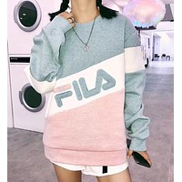 FILA Newest Fashion Women Loose Joining Together Letter Embroidery Long Sleeve Round Collar Sweater Top Sweatshirt Green