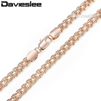 Davieslee Necklace for Women 585 Rose Gold Filled Bismark Hammered Womens Necklaces Chain Cuban Rombo 3/4/5mm 45-55cm GN453