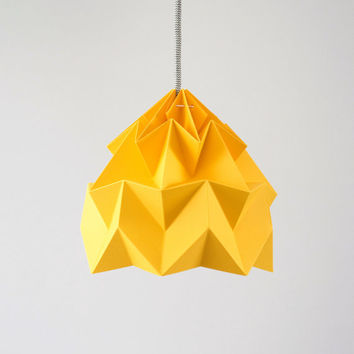 Moth origami lampshade gold yellow