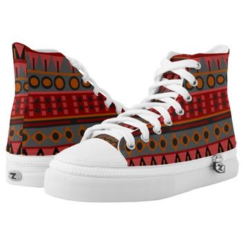 Aztec Warm Red Orange Retro Tribal Ethnic Native Printed Shoes