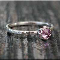 Pink Cubic Zirconia Ring, October Birthstone Ring, Mini Inverted Gemstone Ring, Sterling Silver Ring, Pink CZ Stacking Ring, Birthstone Ring