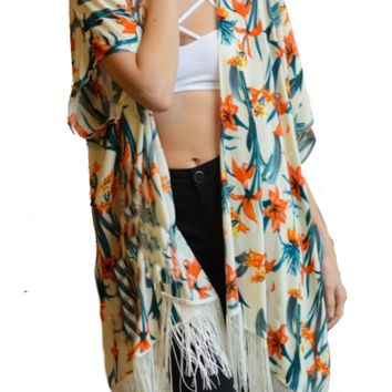 Ivory Tropical Flower Kimono with Vintage Tassel