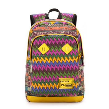 Unisex Canvas Geometric Backpack Travel Bag Bookbag Daypack