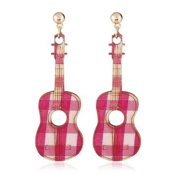 New Stripes Creative Guitar Wooden Hollow Earrings Violin Music Tool Drop Fashion Jewelry For Female 2018, Item NO.: JY5321