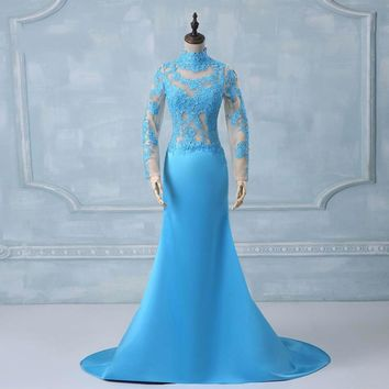 Blue Mermaid gown High neck Applique Satin Elegant Formal long sleeve evening dress