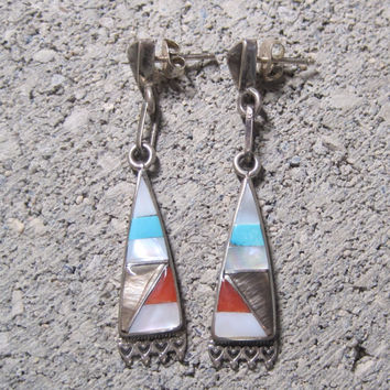 Vintage Sterling Inlay Dangle Earrings Native American Turquoise Mother of Pearl