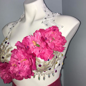 Floral rave bra, white rave bra, rave outfit, pink rave bra, Floral rave bra, Pretty rave bra, princess rave bra, edc outfit