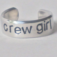 rowing jewelry, crew ring, medium sizes 6-8 adjustable crew ring, crew girl ring, handstamped rowing ring, rowing jewelry, gift for rower