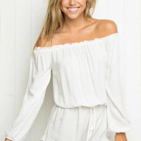 Solid Color Loose Long Sleeve Romper Jumpsuit