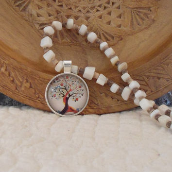 Tree of Life,Hippie Pendant,Mother of Pearl,Handmade Beaded,Hippie Jewelry Boho,Long Necklace,Bohemian Gypsy Soul,Beach Surfer Style,