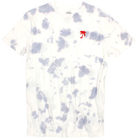 Red Palm Tree Embroidered on Cloud Washed, Tie Dye style Tee by Altru Apparel