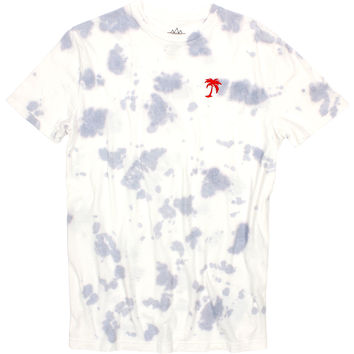 Red Palm Tree Embroidered on Tie Dye style graphic tee