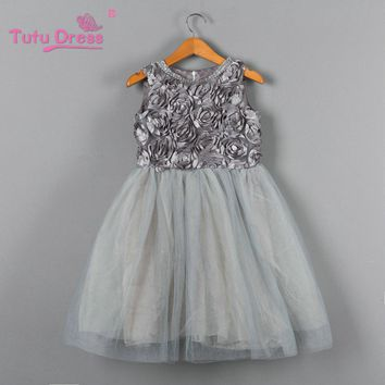 2018 Halloween Girl Dress Princess Wedding Bridesmaid Child Wear Kids Clothes Grey Party Tutu Dresses for Girl Clothes