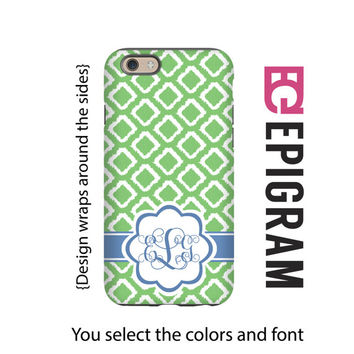 Green iKat Monogram iPhone 6s case, iPhone 6 plus case, 3D wrap around case, iPhone 5s case,  iPhone tough case, 3D iPhone 6 case