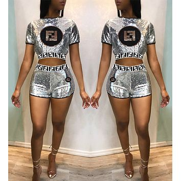 FENDI Fashionable Women Casual Sequin Embroidery Short Sleeve Top Shorts Set Two-Piece Silvery