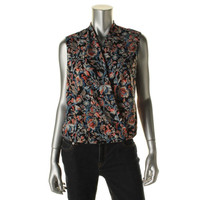 Jones New York Womens Petites Sleeveless Floral Print Wrap Top