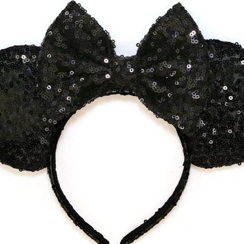 Black Sequin Ears and Black Bow