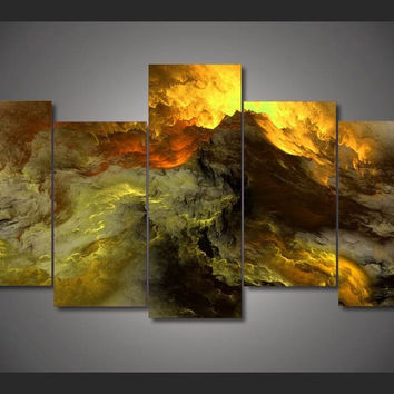 Clouds Of Golden Fire 5-Piece Wall Art Canvas