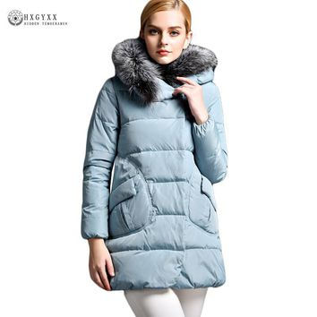 Real Fox Fur Collar Winter Jacket Woman 2017 Pure Color A-line Slim Warm White Duck Down Coat Plus Size Female Outwear Ob331